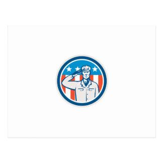 Círculo americano de la bandera del saludo del sol postales