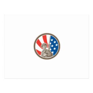 Círculo americano de la bayoneta del militar del postal