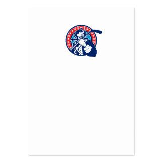 Círculo americano del palillo del hockey sobre tarjetas de visita grandes