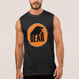 Círculo anaranjado del oso de H S negro Camiseta
