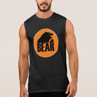 Círculo anaranjado del oso de H S (negro) Camiseta