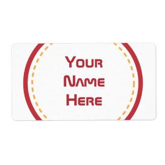 Círculo anaranjado rojo etiqueta de envío