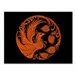Círculo anaranjado tradicional de Phoenix Tarjetas Postales
