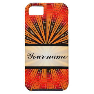 Círculo anaranjado y tablero de damas negro y iPhone 5 funda