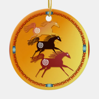 Círculo antiguo de tres caballos ornamento de reyes magos