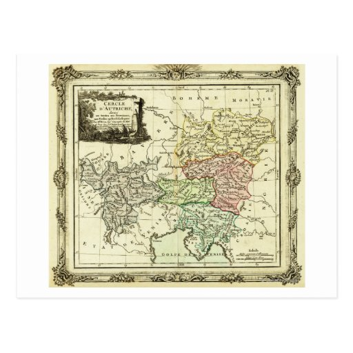 Círculo austríaco del mapa del Sacro Imperio Tarjeta Postal