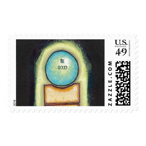 Círculo azul de la diversión del arte abstracto sello