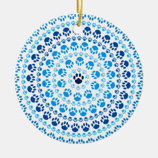 Círculo azul de la pata adorno navideño redondo de cerámica