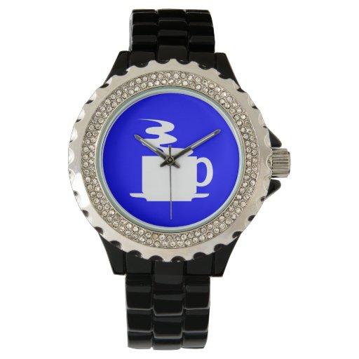 círculo azul de la zona del café - blanco relojes