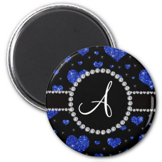 Círculo azul de los diamantes negros de los iman de nevera