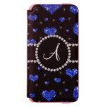 Círculo azul de los diamantes negros de los funda cartera para iPhone 6 watson
