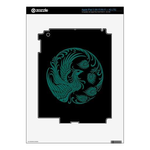Círculo azul de Phoenix del trullo tradicional en  Pegatinas Skins Para iPad 3