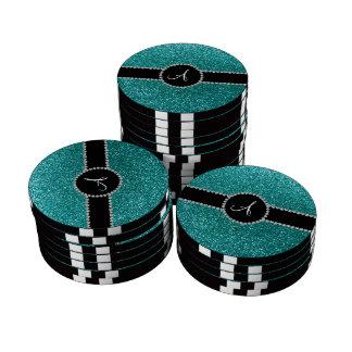 Círculo azul del diamante del brillo del huevo del fichas de póquer