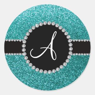 Círculo azul del diamante del brillo del huevo del etiqueta redonda