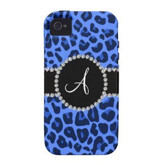 Círculo azul del leopardo del monograma iPhone 4/4S funda