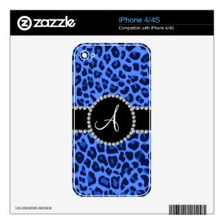 Círculo azul del leopardo del monograma calcomanías para el iPhone 4