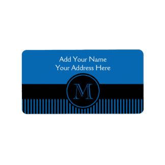 Círculo azul del monograma de las rayas negras del etiqueta de dirección