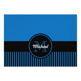"""Círculo azul del monograma de las rayas negras del invitación 5"""" x 7"""""""