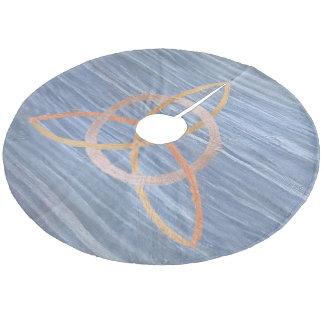 Círculo azul del nudo de la trinidad del oro falda para arbol de navidad de forro polar