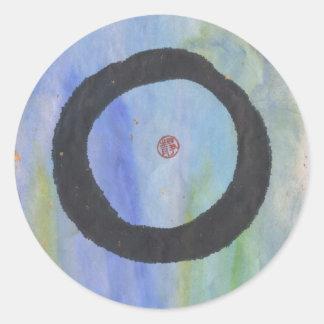 Círculo azul del zen de Enso de los pegatinas de Etiqueta Redonda