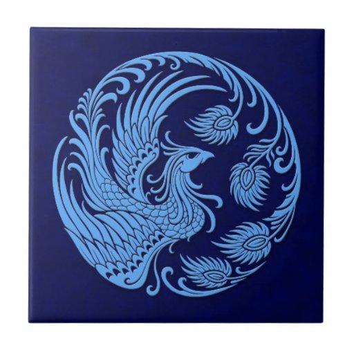 Círculo azul tradicional de Phoenix Azulejo Cuadrado Pequeño