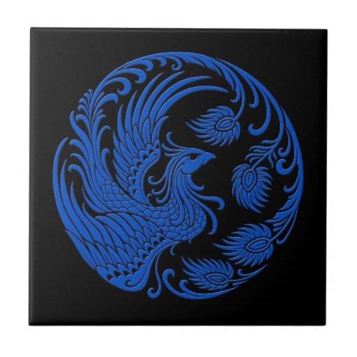 Círculo azul tradicional de Phoenix en negro Tejas Ceramicas