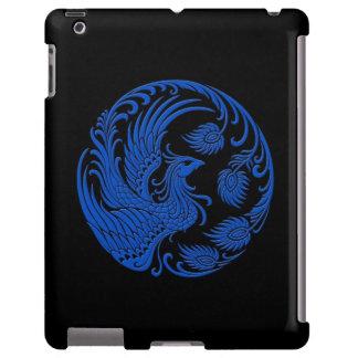 Círculo azul tradicional de Phoenix en negro Funda Para iPad