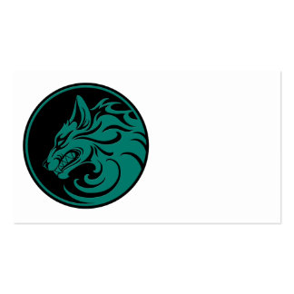 Círculo azul y negro del trullo el gruñir del lobo tarjetas de visita