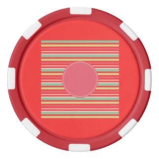 Círculo azulverde de las rayas de la menta en juego de fichas de póquer