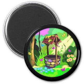 Círculo bien afortunado de la magia del bosque de  imán redondo 5 cm