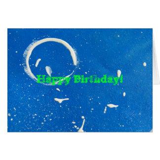 ¡Círculo blanco abstracto en cumpleaños azul, feli Tarjeta De Felicitación