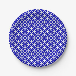 Círculo blanco azul de la vida platos de papel