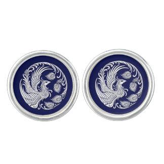 Círculo blanco tradicional de Phoenix en azul Mancuernillas