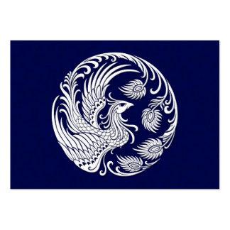 Círculo blanco tradicional de Phoenix en azul Tarjetas De Visita Grandes