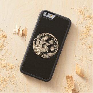 Círculo blanco tradicional de Phoenix en negro Funda De iPhone 6 Bumper Arce