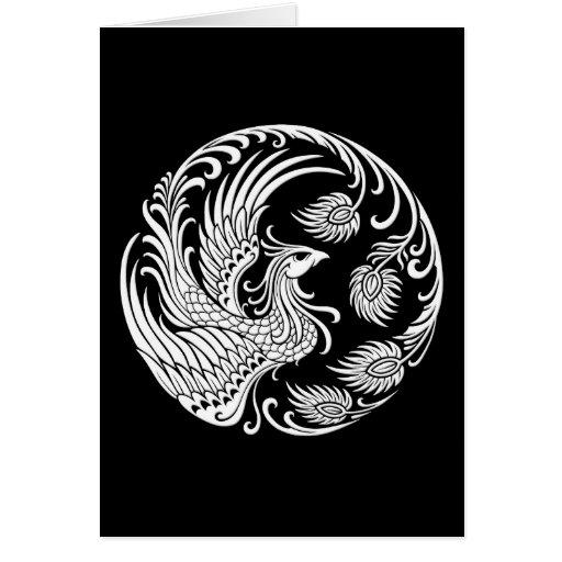 Círculo blanco tradicional de Phoenix en negro Felicitación