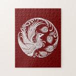 Círculo blanco tradicional de Phoenix en rojo Rompecabeza