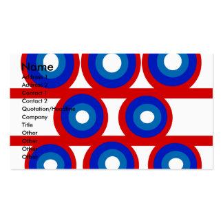 Círculo blanco y azul rojo retro tarjetas de visita