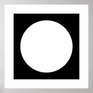 Círculo blanco y negro, diseño geométrico simple póster