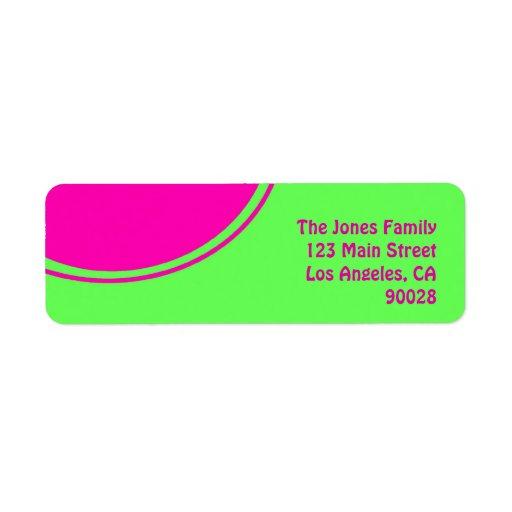 Círculo brillante de la MOD del rosa de la verde l Etiqueta De Remite