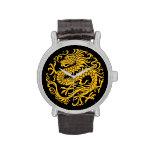 Círculo chino amarillo y negro tradicional del dra reloj