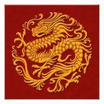 Círculo chino amarillo y rojo tradicional del drag anuncio
