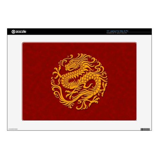 Círculo chino amarillo y rojo tradicional del drag calcomanías para 38,1cm portátiles