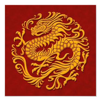 """Círculo chino amarillo y rojo tradicional del invitación 5.25"""" x 5.25"""""""