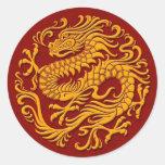 Círculo chino amarillo y rojo tradicional del etiquetas redondas