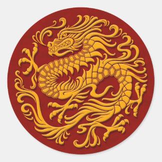 Círculo chino amarillo y rojo tradicional del pegatina redonda