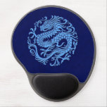 Círculo chino azul tradicional del dragón alfombrilla con gel