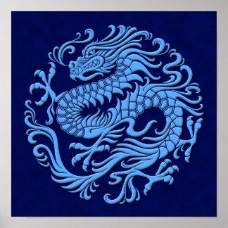 Círculo chino azul tradicional del dragón póster