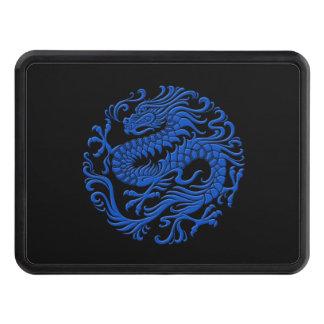 Círculo chino azul y negro tradicional del dragón tapa de tráiler