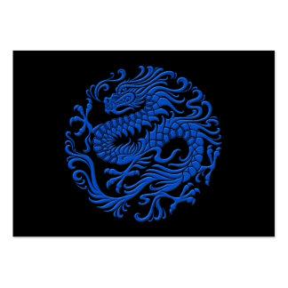 Círculo chino azul y negro tradicional del dragón tarjetas de visita grandes